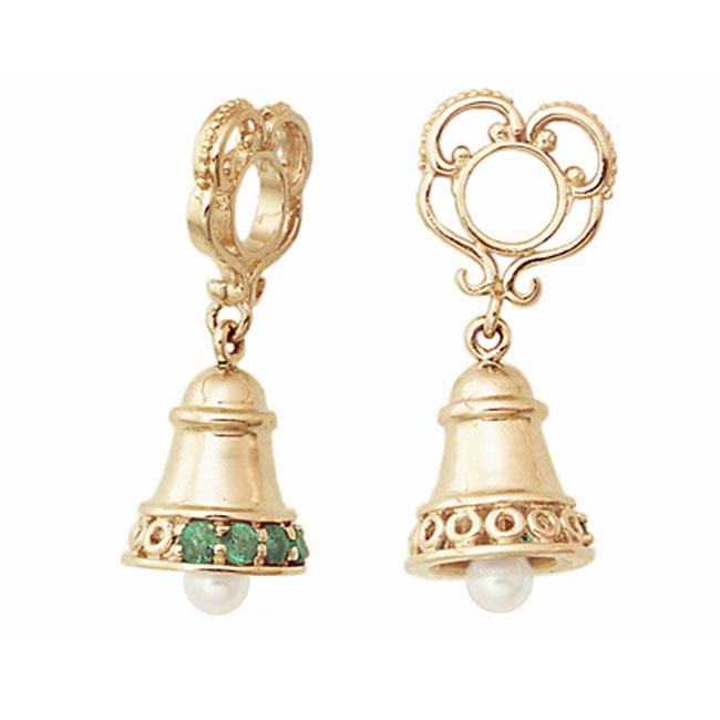 271127-Storywheels Emerald & Pearl Christmas Bell Dangle 14K Gold Wheel