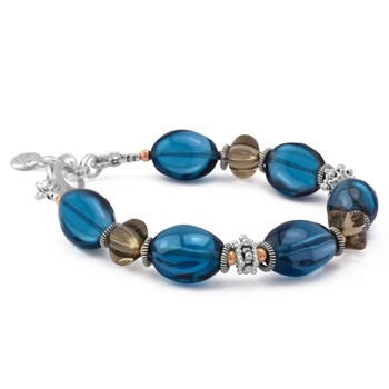 Blue Topaz with Smokey Quartz Bracelet
