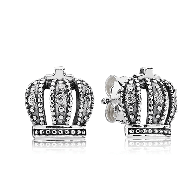 342984-PANDORA Royal Crown with Clear CZ Stud Earrings