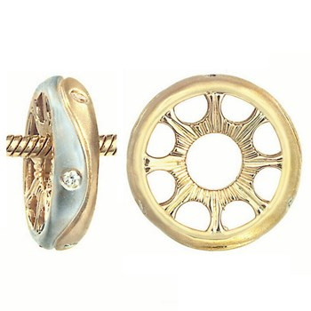 262569-Storywheels Yin Yang with Diamond Sterling Silver Sandblasted/14K Gold Wheel RETIRED ONLY 1 LEFT!