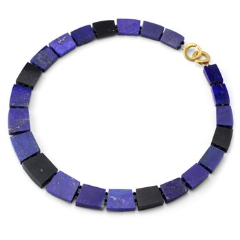 235-486-Lapis & Serpentine Stone Necklace
