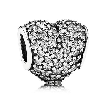 PANDORA Pavé Heart with Clear CZ Charm-342094