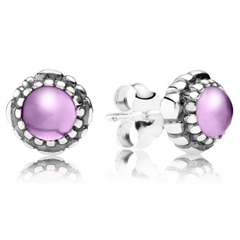 344320-PANDORA Amethyst February Birthday Bloom Stud Earrings