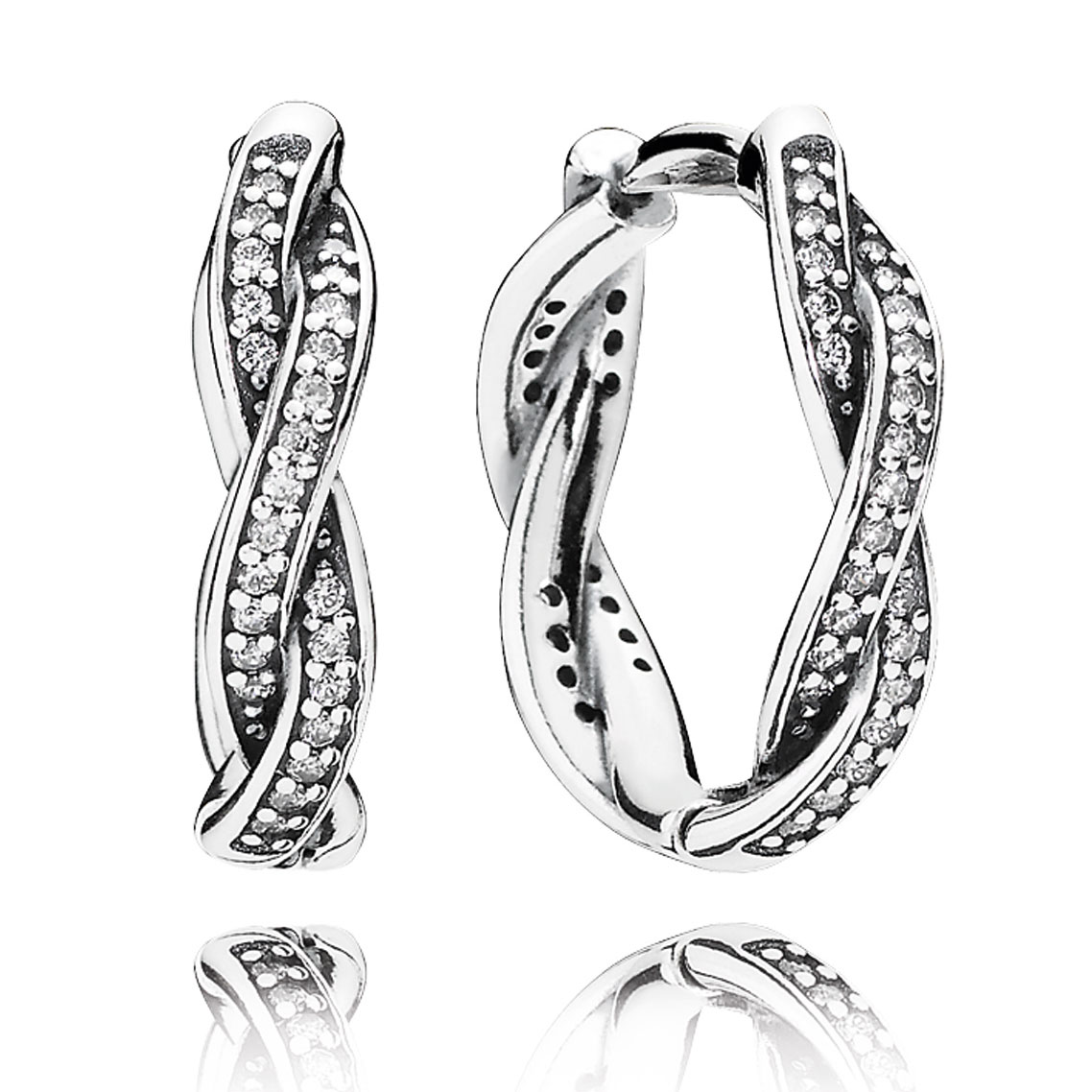 PANDORA Twist of Fate with Clear CZ Hoop Earrings-804-392