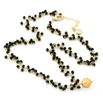Golden Pearl & Onyx Necklace-348937