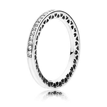 PANDORA Radiant Hearts of PANDORA with Silver Enamel & Clear CZ Ring