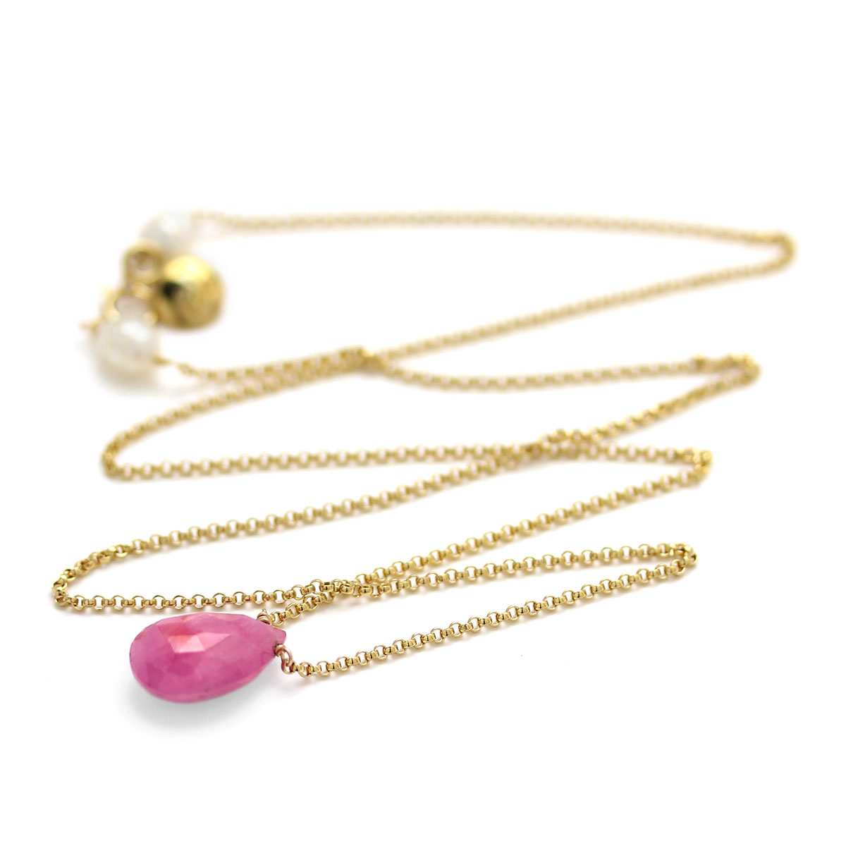 235-601-Pink Sapphire & Pearl Necklace
