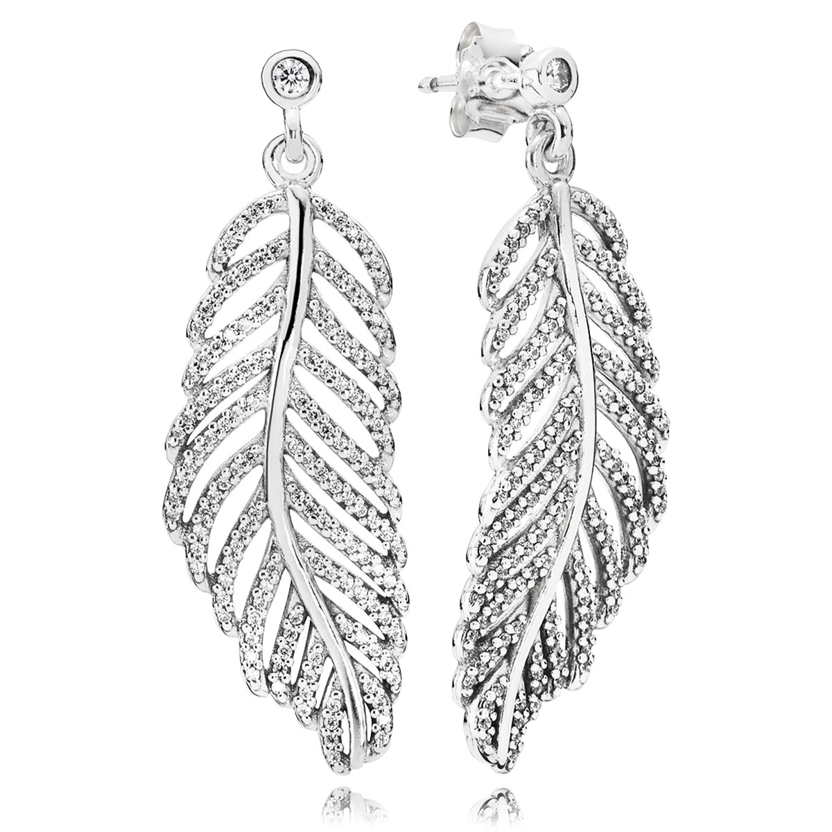 PANDORA Light as a Feather with Clear CZ Dangle Earrings-804-420