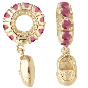265492-Storywheels Ruby & Diamond Baby Shoe Dangle 14k Gold Wheel ONLY 2 AVAILABLE!
