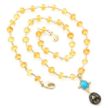 Citrine Turquoise & Pearl Necklace-349263