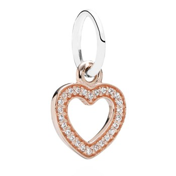 348243-PANDORA Symbol of Love Heart Rose Gold with Clear CZ Pendant RETIRED