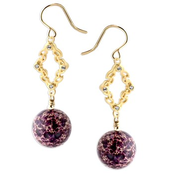 344619-Purple Snakeskin Jasper Earrings