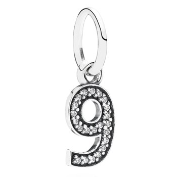 PANDORA Number 9 with Clear CZ Pendant-348237