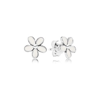 PANDORA Darling Daisies with White Enamel Stud Earrings-346521