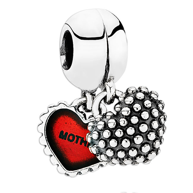 340167-PANDORA Piece of My Heart Mother/Daughter with Red Enamel Dangle