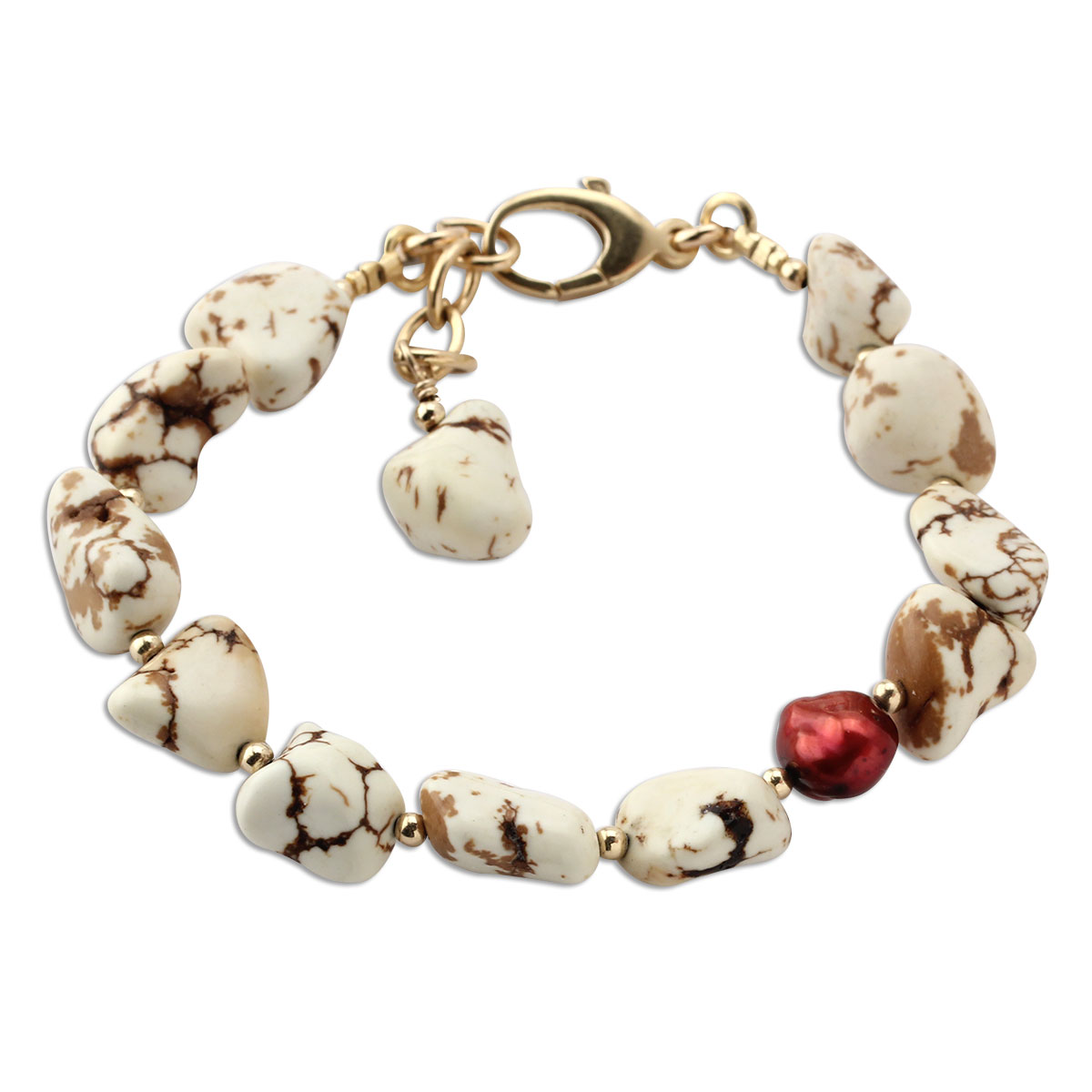 349376-Lollies White Turquoise & Red Pearl Bracelet