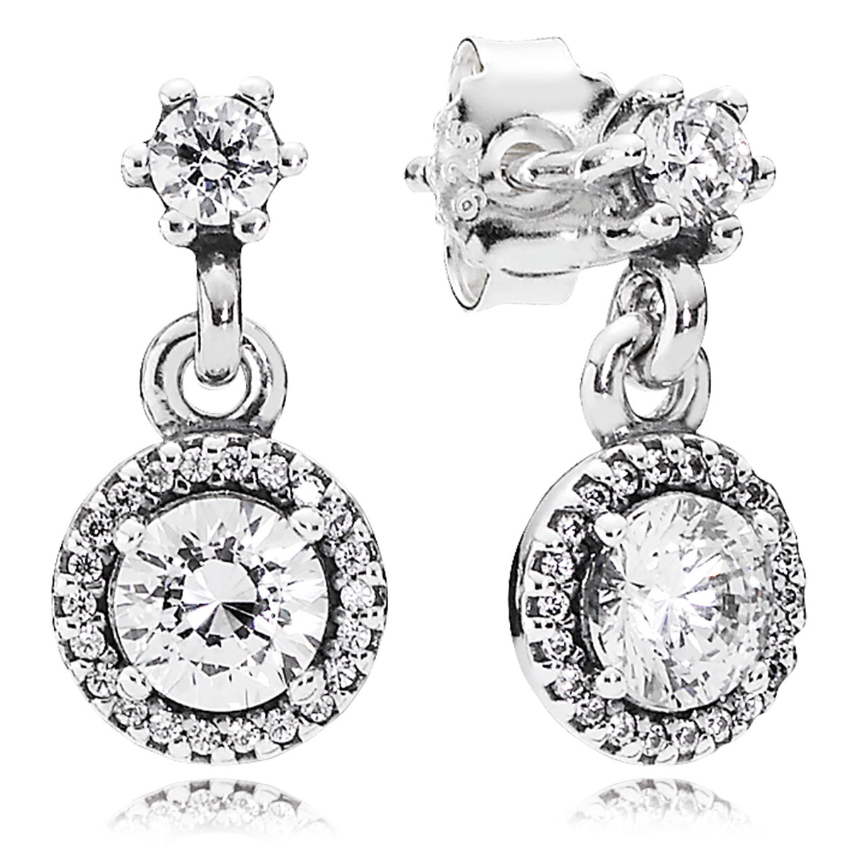 804-424-PANDORA Classic Elegance with Clear CZ Dangle Earrings