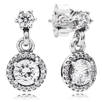 PANDORA Classic Elegance with Clear CZ Dangle Earrings-804-424
