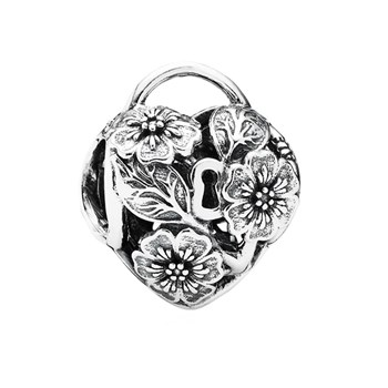 PANDORA Floral Heart Padlock Charm RETIRED LIMITED QUANTITIES!