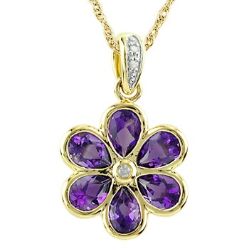 Amethyst & Diamond Flower Pendant-341563