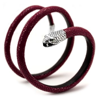 Red Snake Triple Leather Bracelet 341782