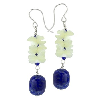 Lapis & Flower Earrings 210-847