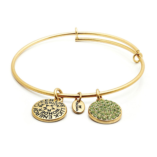 AUGUST Peridot Crystal Bangle - Chrysalis Good Fortune Collection