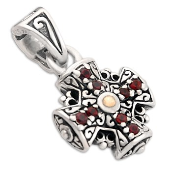 Garnet Cross Pendant-319515