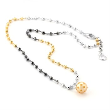 Golden Pearl & Pyrite Necklace-347617