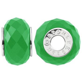 333777-Storywheels Faceted Dyed Green Jade Sterling Silver Wheel ONLY 2 AVAILABLE!