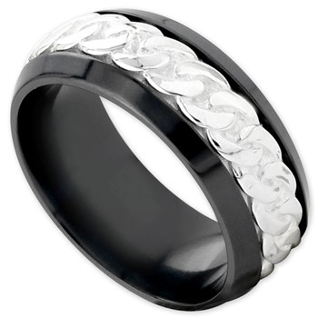 342373-Edward Mirell Men's Black Titanium Ring