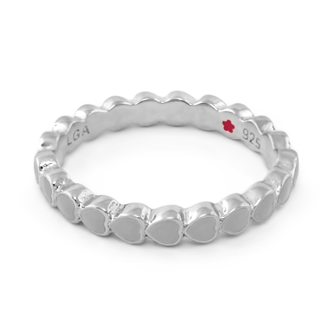 Light Grey 'Layers of Love' Hearts Ring