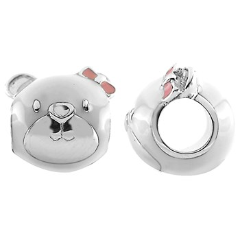 333730-Storywheels Bear Face with Enamel Sterling Silver Charm ONLY 3 AVAILABLE!