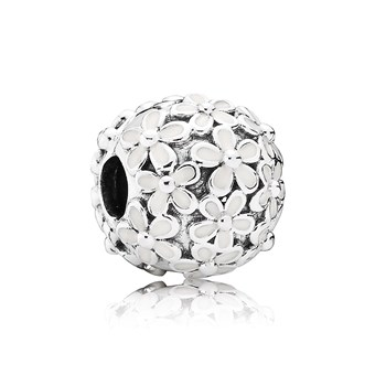802-2856-PANDORA Darling Daisy Meadow with White Enamel Clip