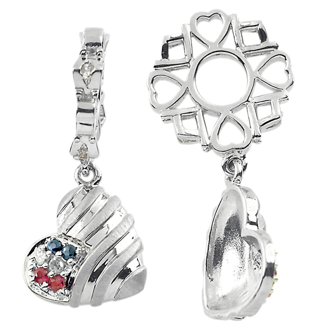 335822-Storywheels Multi Stone Patriotic Heart Dangle 14K White Gold Wheel ONLY 1 AVAILABLE!