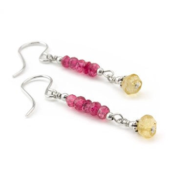 Pink Spinel & Citrine Earrings-210-787