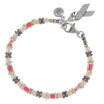 142588-Breast Cancer Awareness Miyuki & Rose Quartz Bracelet
