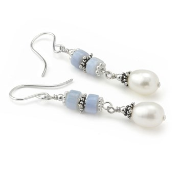 Blue Lace Agate & Pearl Earrings-210-782
