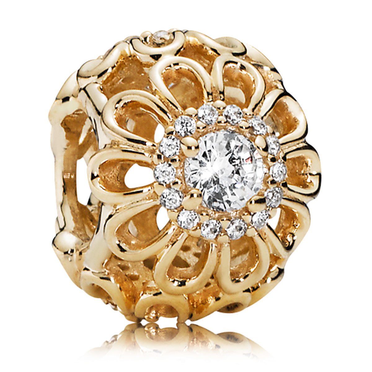 806-81-PANDORA 14K Floral Brilliance with Clear CZ Charm