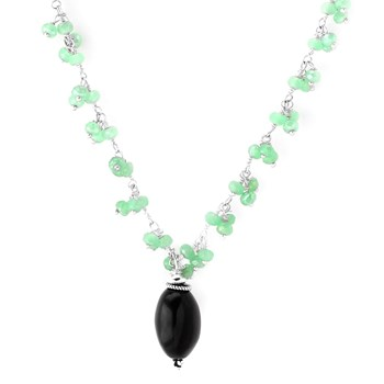 349286-Chalcedony & Onyx Necklace