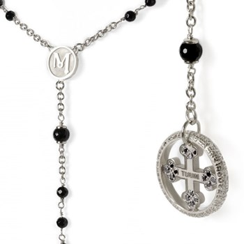 Our Father Onyx & Black Diamond Sterling Silver Rosary
