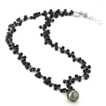 Black Pearl & Spinels Necklace-347606