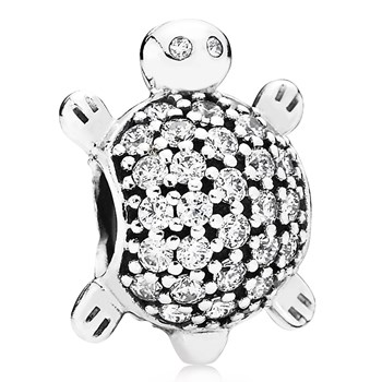 802-3010-PANDORA Sea Turtle with Clear CZ Charm
