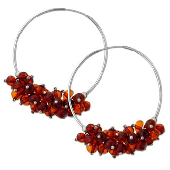 335126-Amber Bunches Hoop Earrings