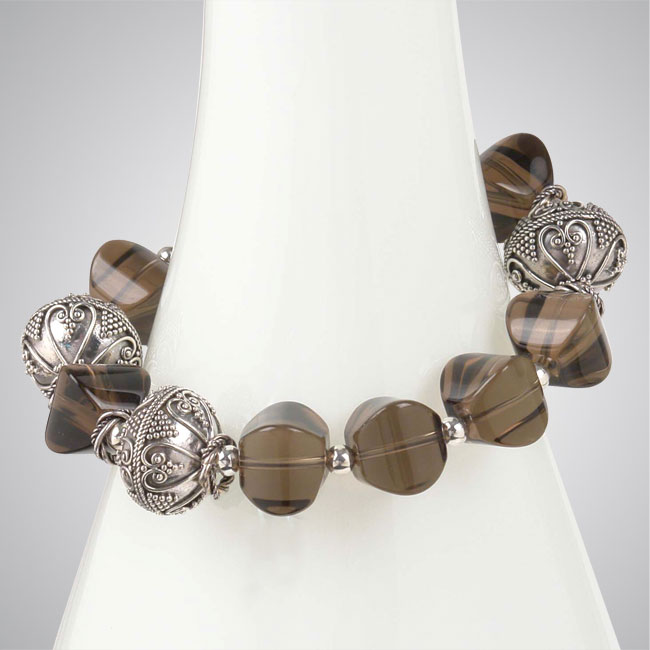 Smokey Quartz & Sterling Silver Bracelet-255899