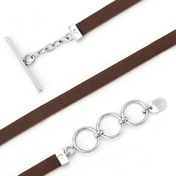340092-Lori Bonn Belgian Chocolate Leather Bracelet