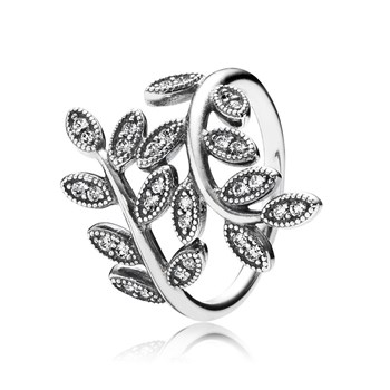 PANDORA Sparkling Leaves with Clear CZ Ring