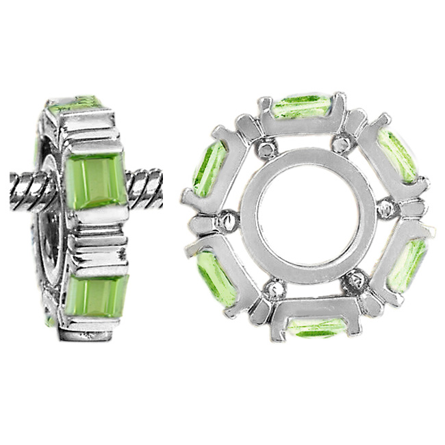 265652-Storywheels Peridot Small Princess Cut 14K White Gold Wheel RETIRED LIMITED QUANTITIES!