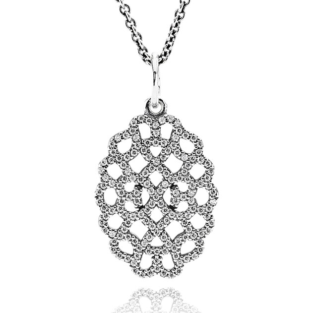 347053-PANDORA Shimmering Lace with Clear CZ Necklace RETIRED LIMITED QUANTITIES!