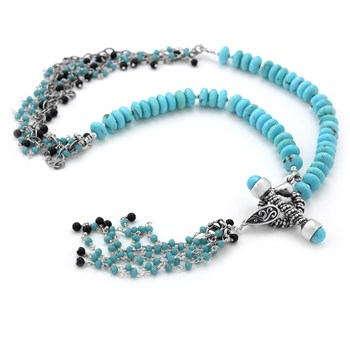 Sleeping Beauty Turquoise With Amazonite & Onyx Necklace 235-609
